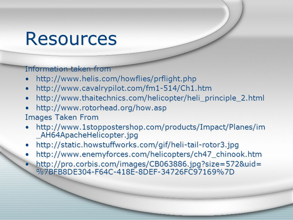 Resources Information taken from