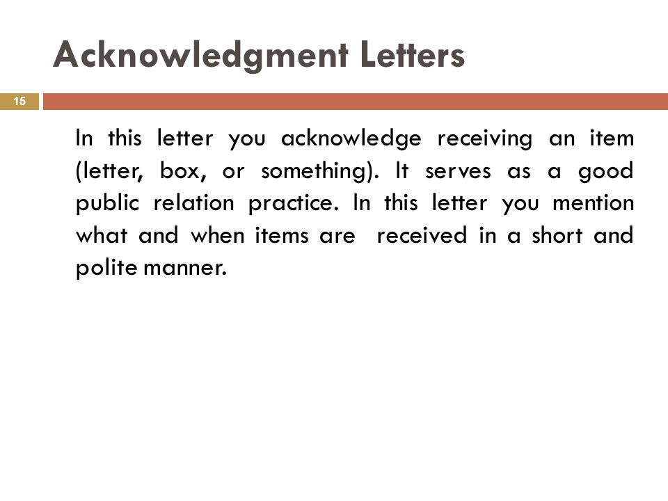 acknowledgment letters