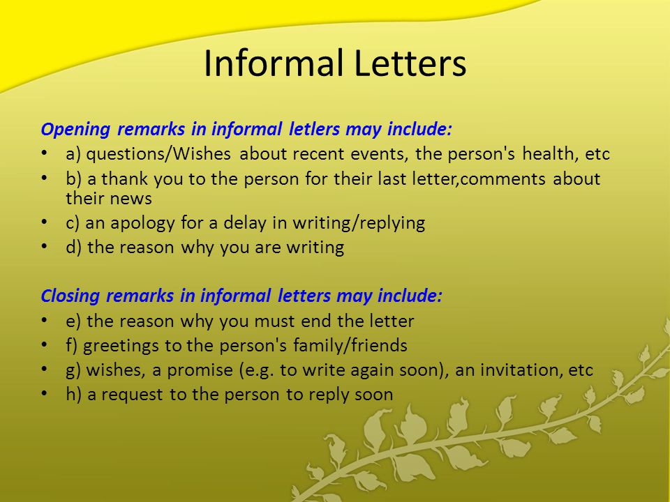 Agenda types of letters layout of letters writing style in informal letters opening remarks in informal letlers may include stopboris Choice Image