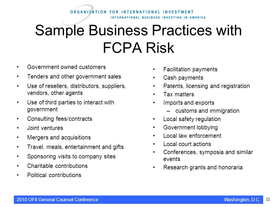 sample business practices with fcpa risk