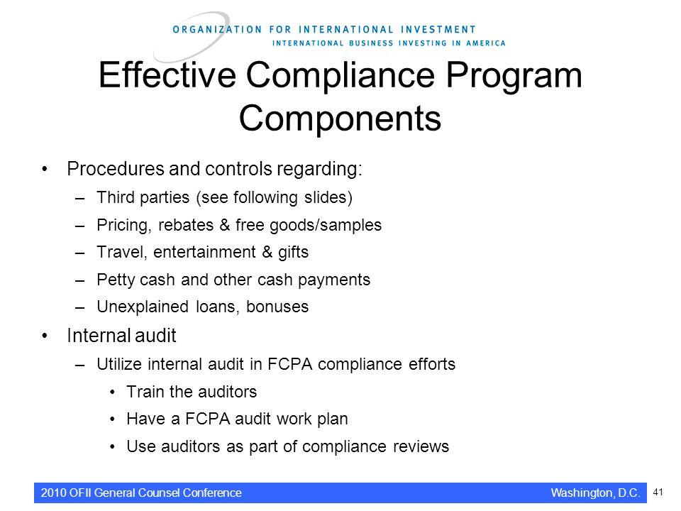 41 effective compliance program components