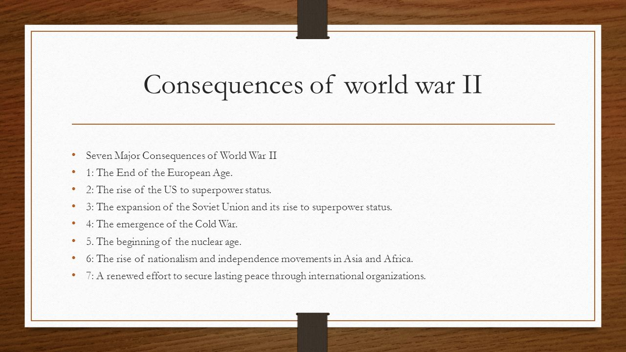 consequences of world war 2