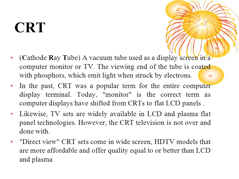 Crt Monitor Cathode Ray Tube Ppt Video Online Download