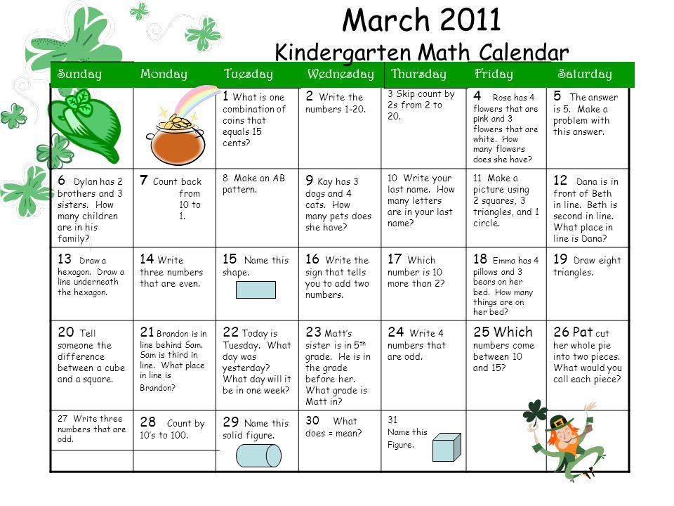 Kindergarten Calendar Math Powerpoint : March kindergarten math calendar ppt video online