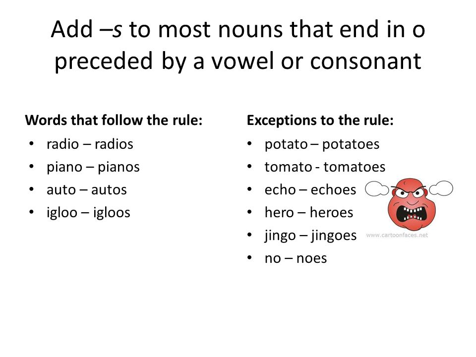 7 letter words ending with o the and the exceptions ppt 15410