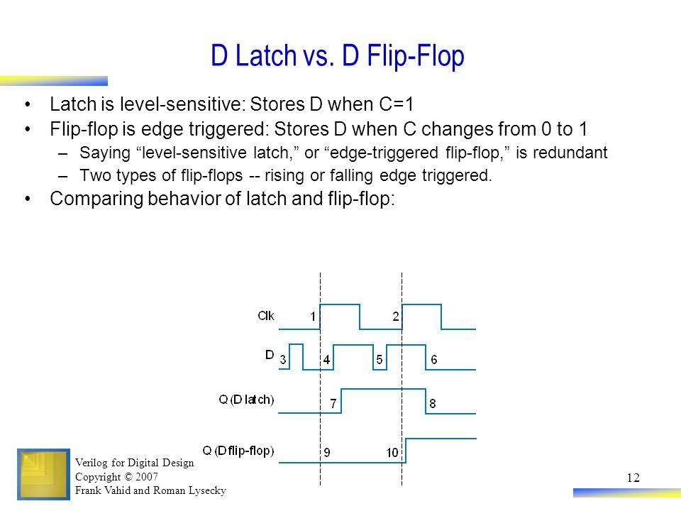 9837743059faf4 D Latch vs. D Flip-Flop Latch is level-sensitive  Stores D