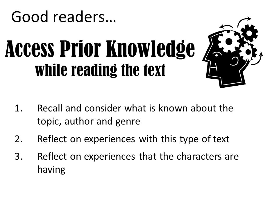 Access Prior Knowledge while reading the text