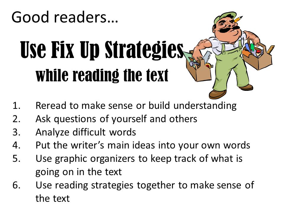 Use Fix Up Strategies while reading the text