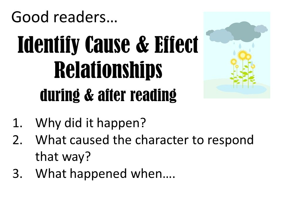 Identify Cause & Effect Relationships during & after reading