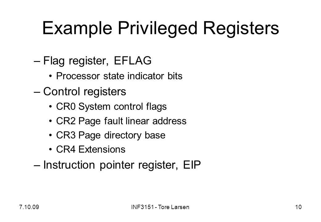 Example Privileged Registers
