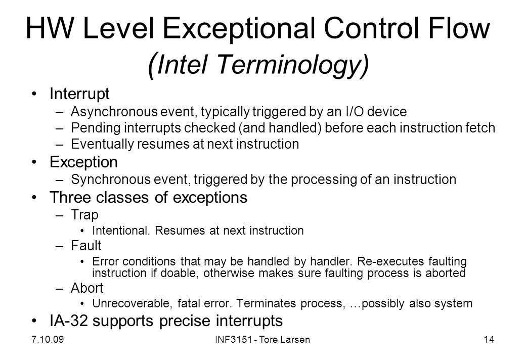 HW Level Exceptional Control Flow (Intel Terminology)