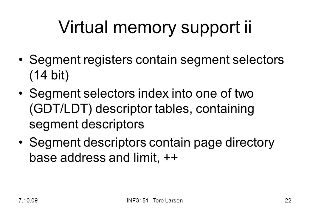 Virtual memory support ii