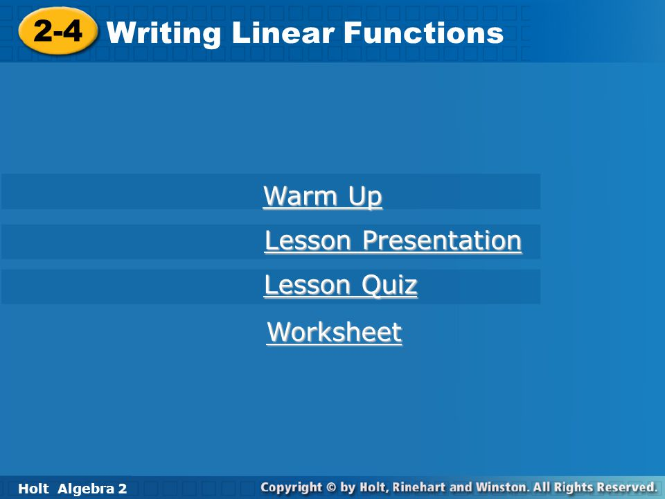 Writing Linear Functions - ppt download