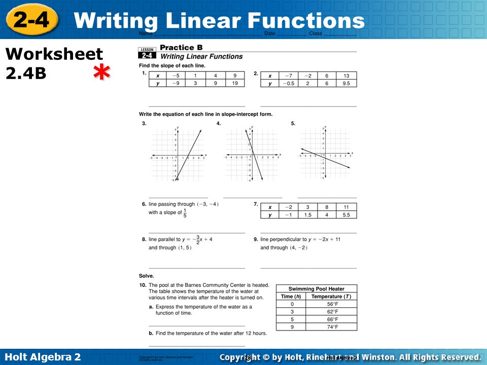 Writing Linear Functions Worksheet Writing Linear Functions