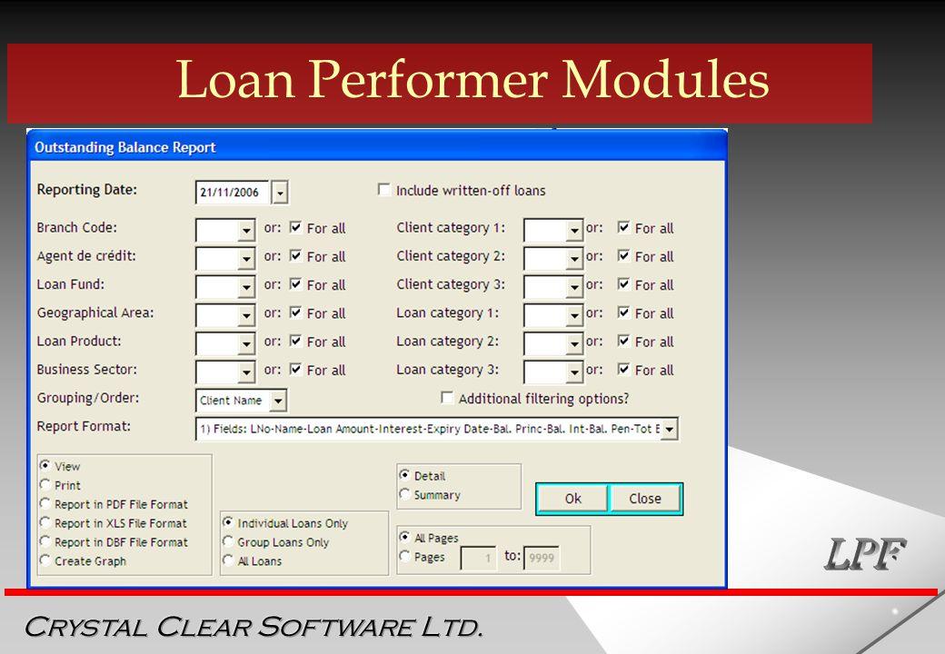 LOAN PERFORMER Crystal Clear Software Ltd  - ppt download