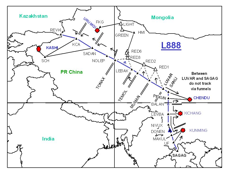 PR China So, this is L888. This slide depicts the actual route - in blue, and the exit routes in case of depressurisation - in black.