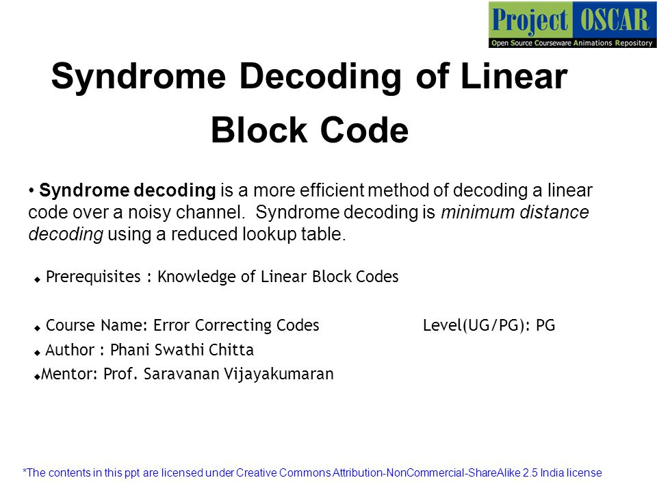 Syndrome Decoding Of Linear Block Code Ppt Video Online