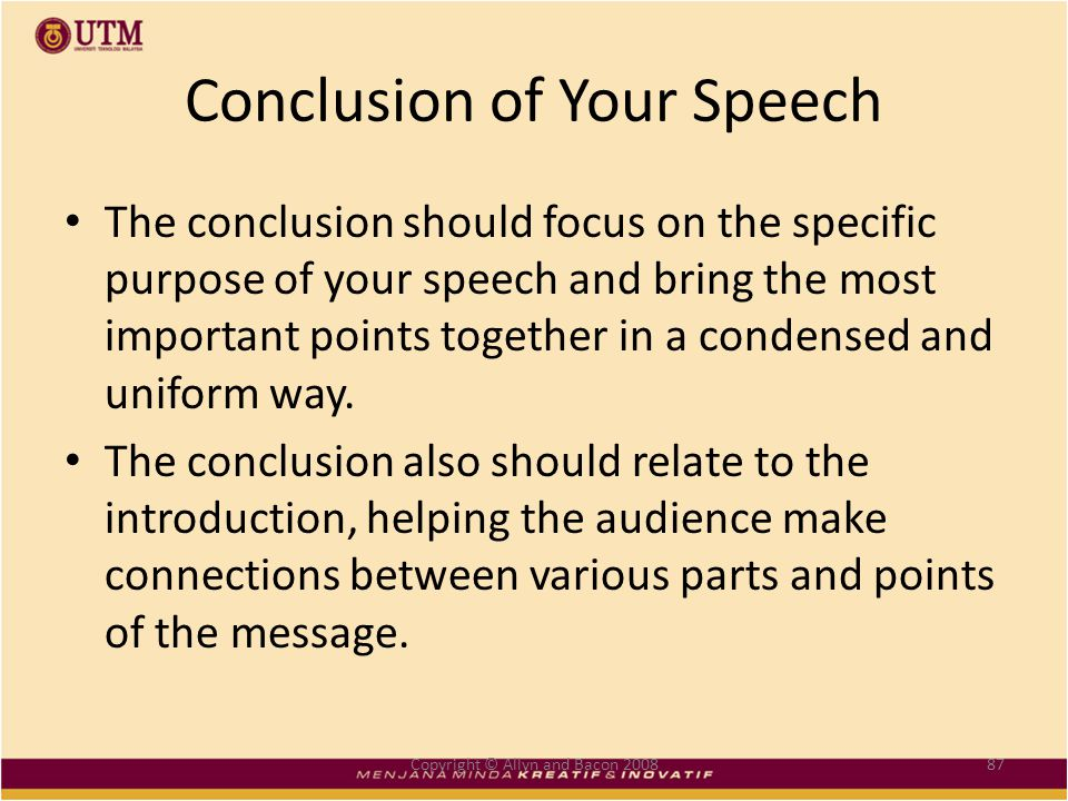 the conclusion of a speech should