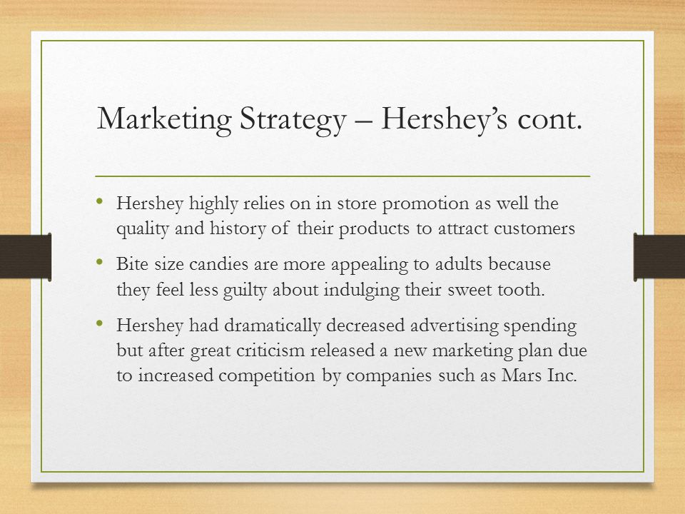 hershey strategy 1 hershey dark chocolate mascot strategy - each chocolate has a code which in the package we will write a custom essay sample oninternational market entry strategy for hershey foods.