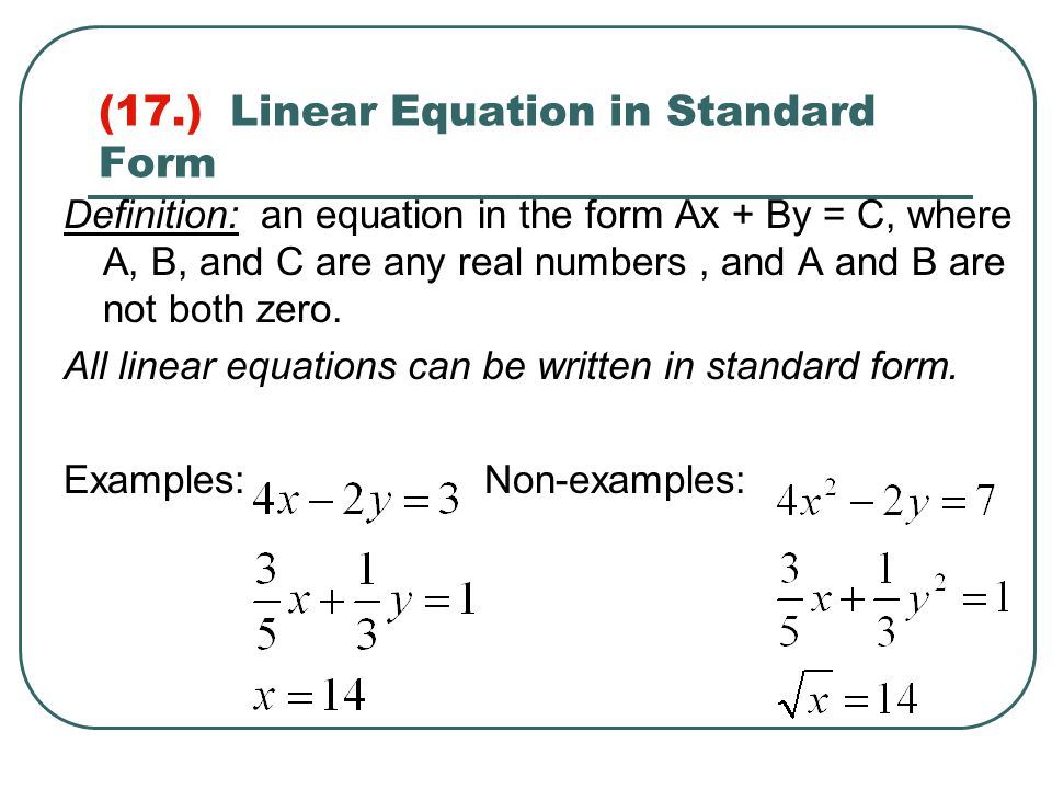 Standard Form Of Linear Equation Examples Images Free Form Design