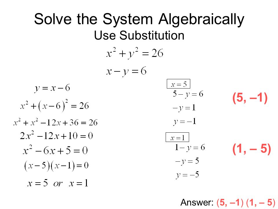 Solving Systems of Linear and Quadratic Equations - ppt video online ...