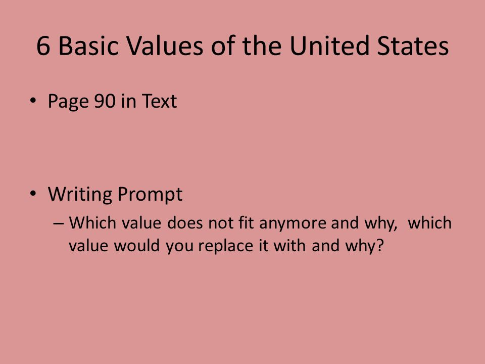6 Basic Values of the United States