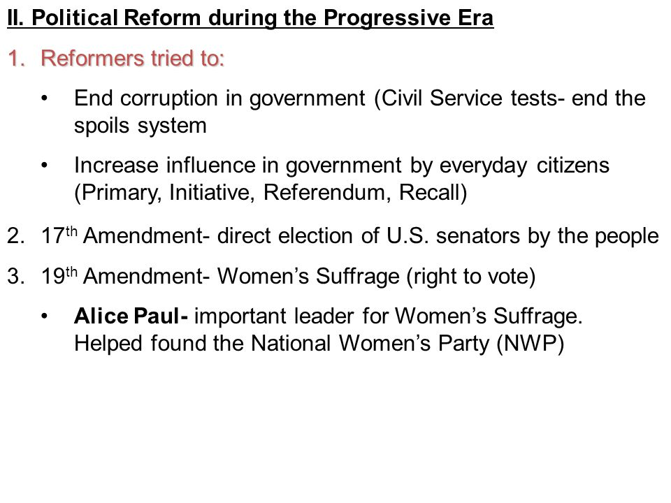 Political Reform During The Progressive Era
