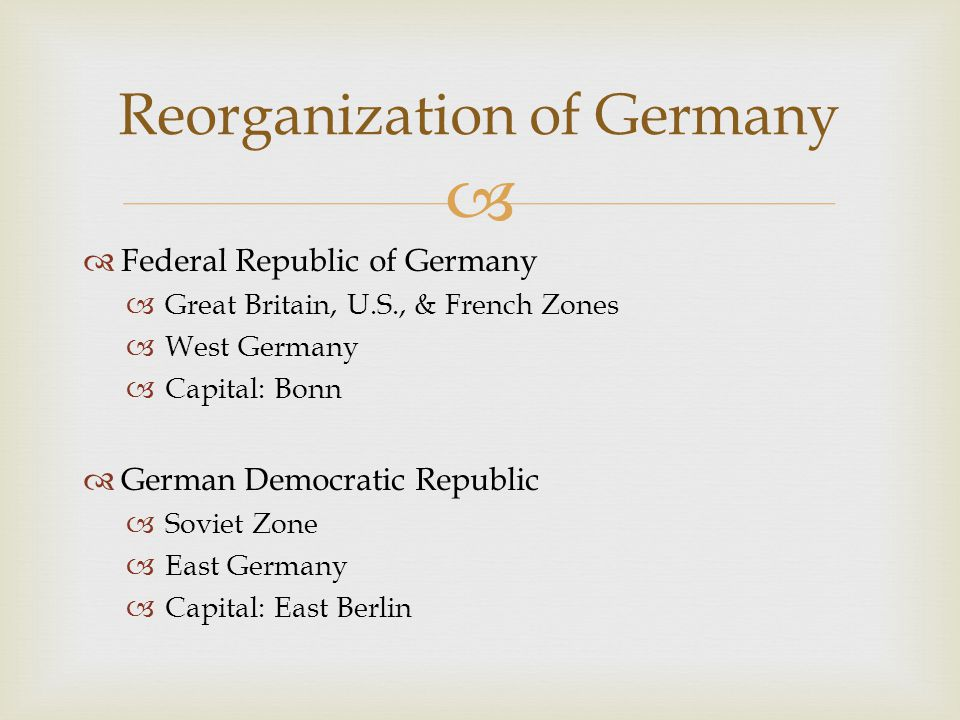 Reorganization of Germany
