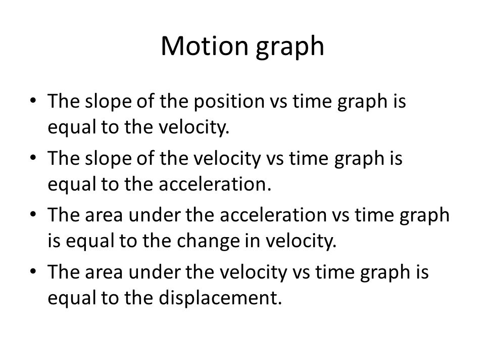 Motion graph The slope of the position vs time graph is equal to the velocity. The slope of the velocity vs time graph is equal to the acceleration.