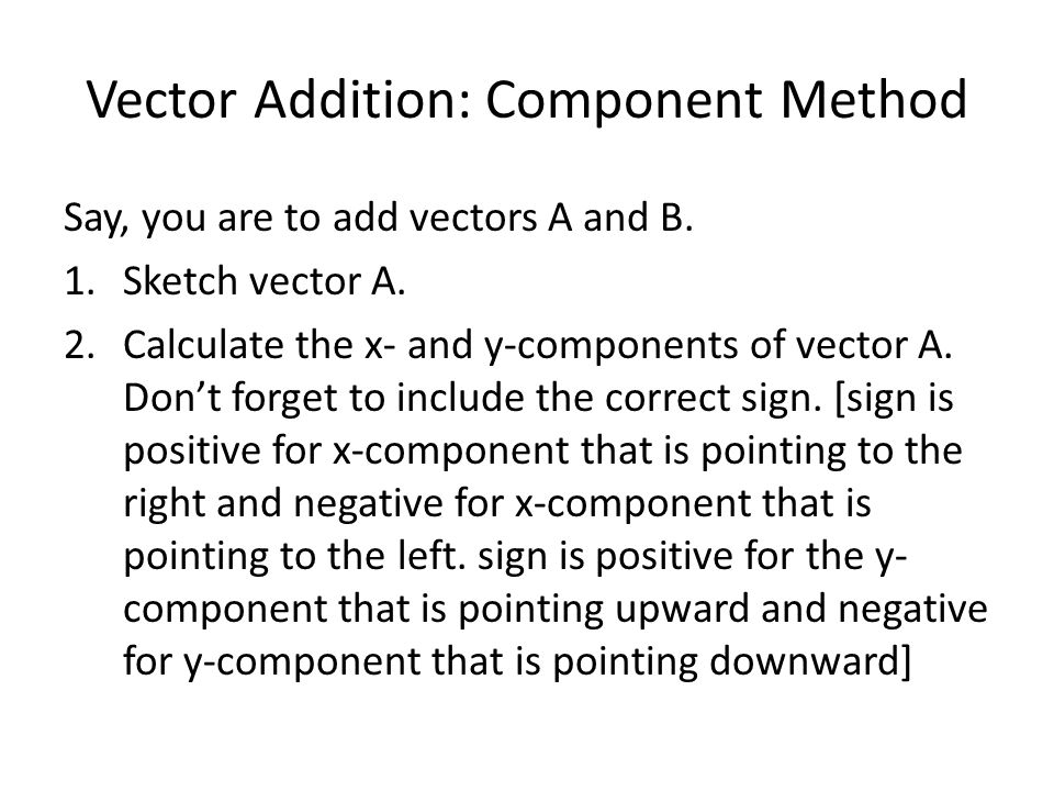 Vector Addition: Component Method