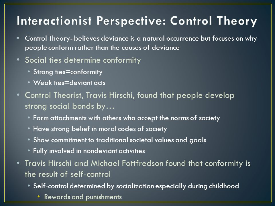 Interactionist Perspective: Control Theory