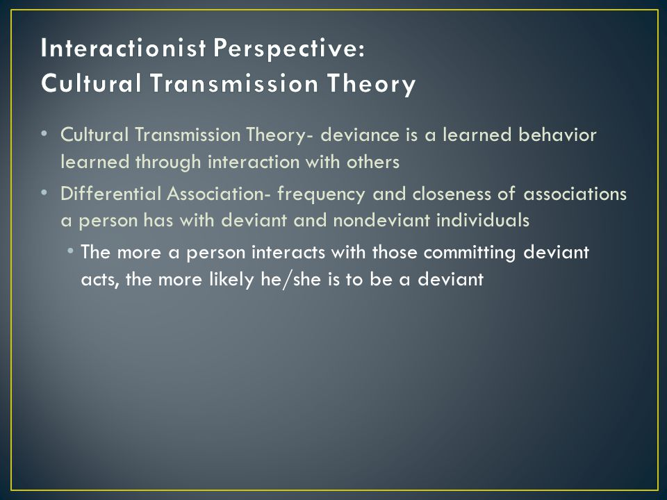 Interactionist Perspective: Cultural Transmission Theory