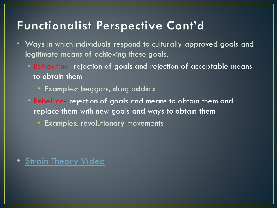 Functionalist Perspective Cont'd