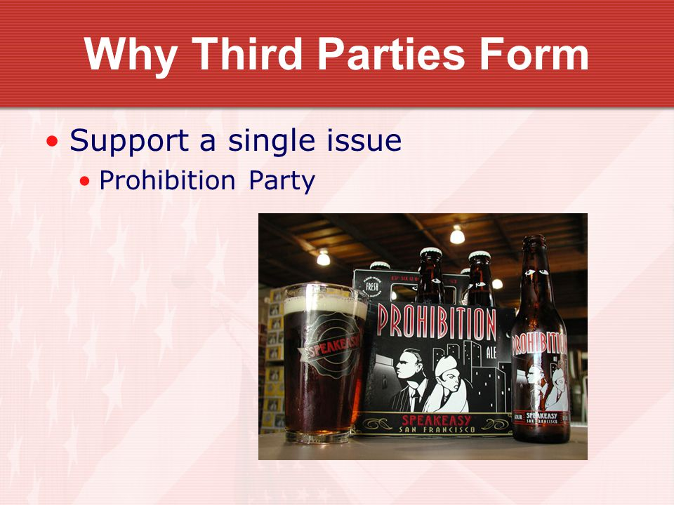 Why Third Parties Form Support a single issue Prohibition Party