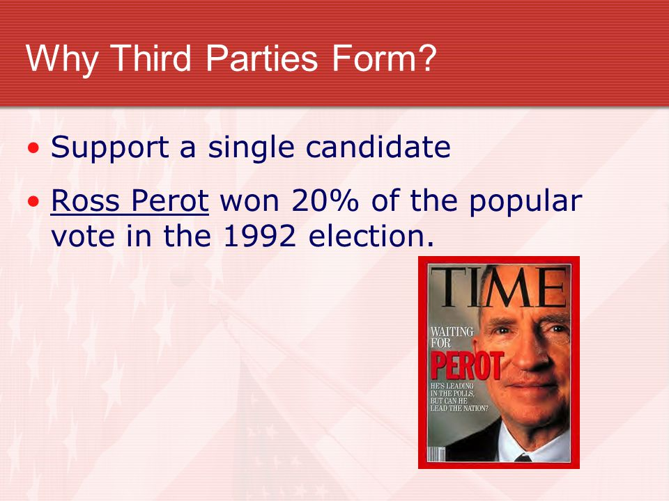 Why Third Parties Form Support a single candidate
