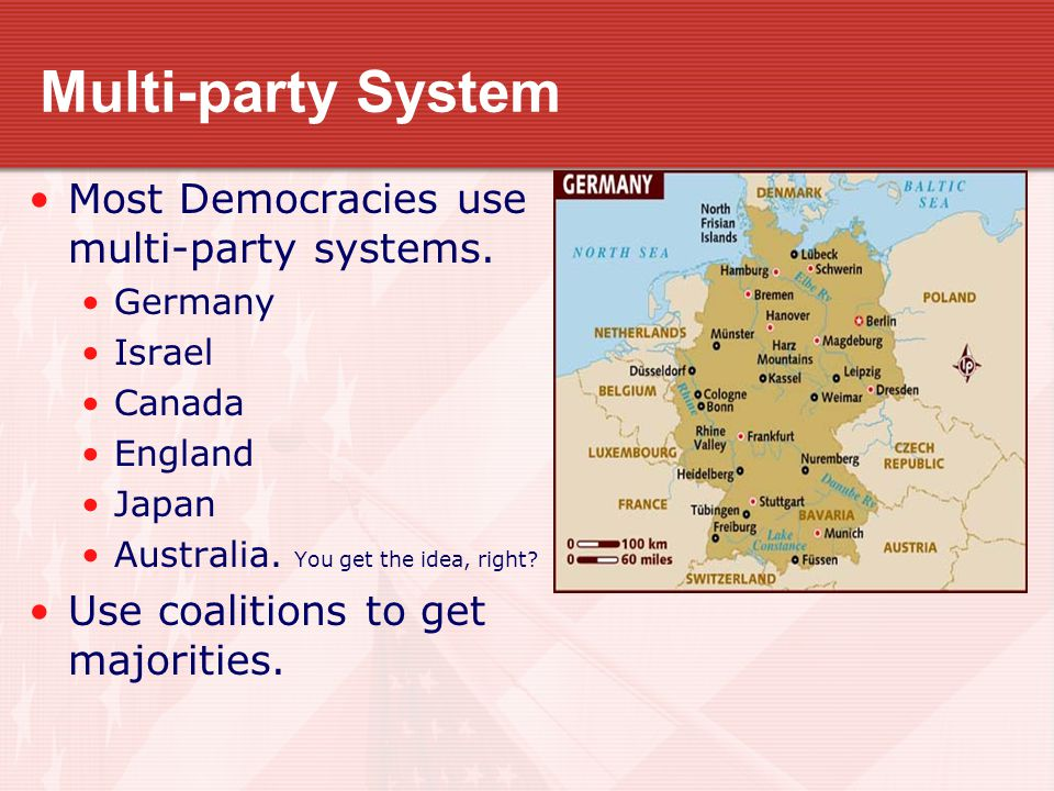 Multi-party System Most Democracies use multi-party systems.