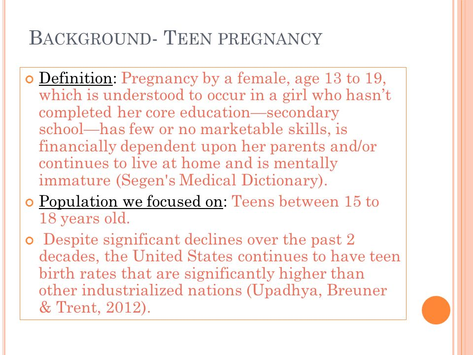background of teenage pregnancy
