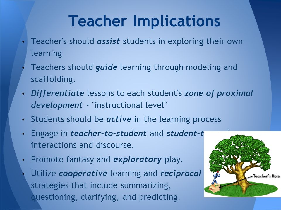Teacher Implications Teacher s should assist students in exploring their own learning.