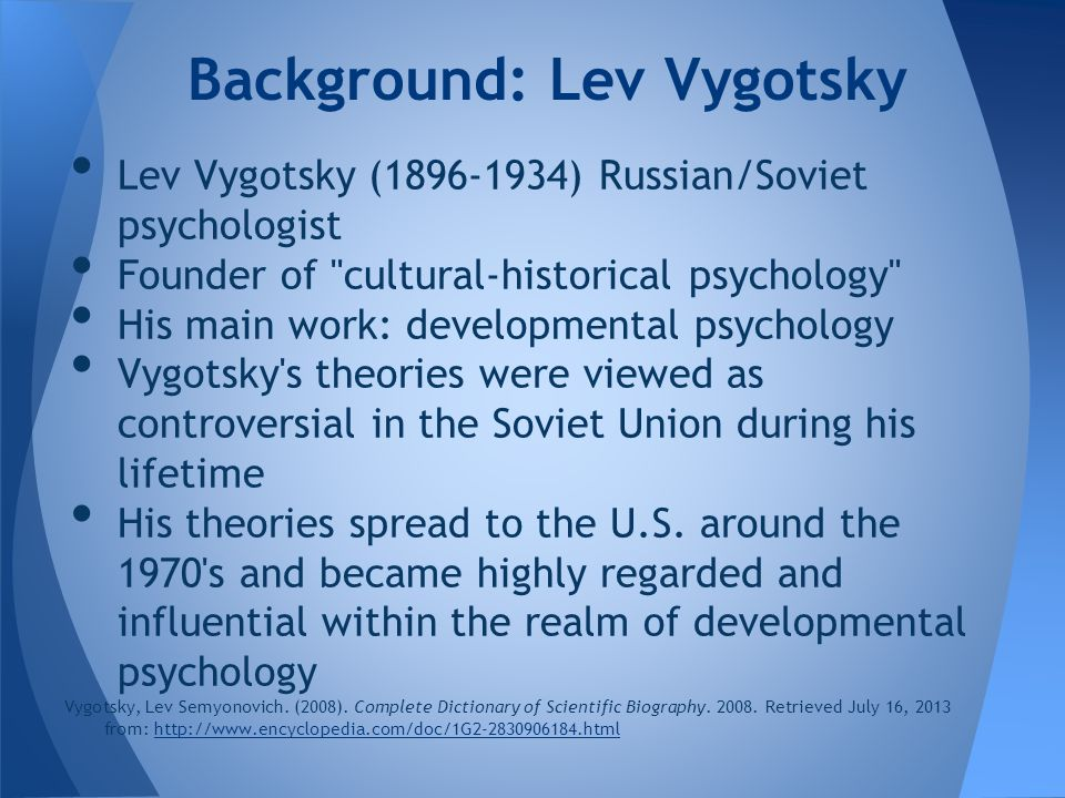 vygotsky influenced by marxism sociology essay L s vygotsky mind in society the development  these essays are certainly of intcrest from the perspective of  marxist thcory of psychology vygotsky must have.