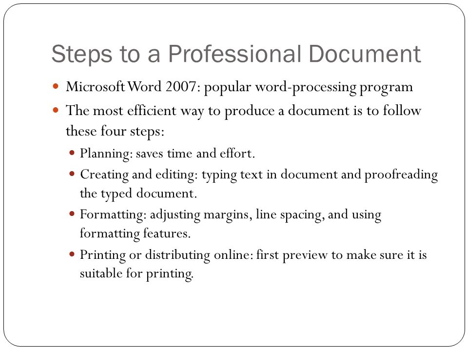 Steps to a Professional Document