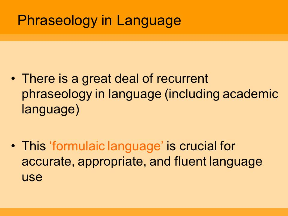 Phraseology in Language