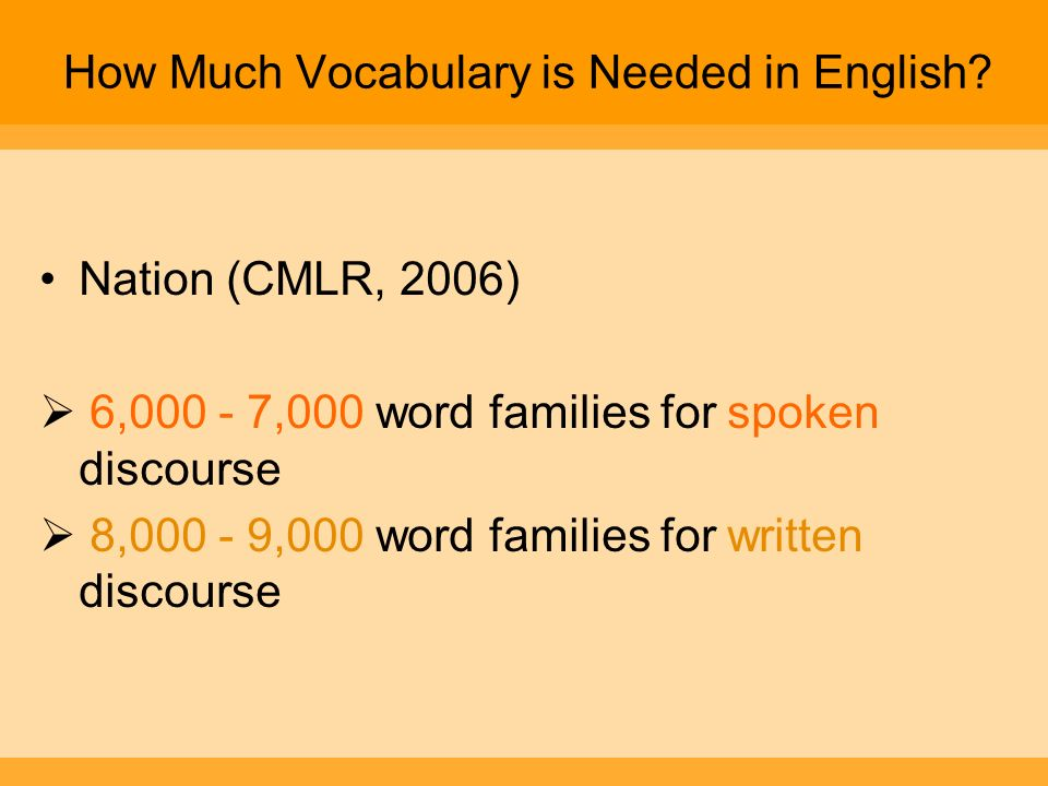 How Much Vocabulary is Needed in English