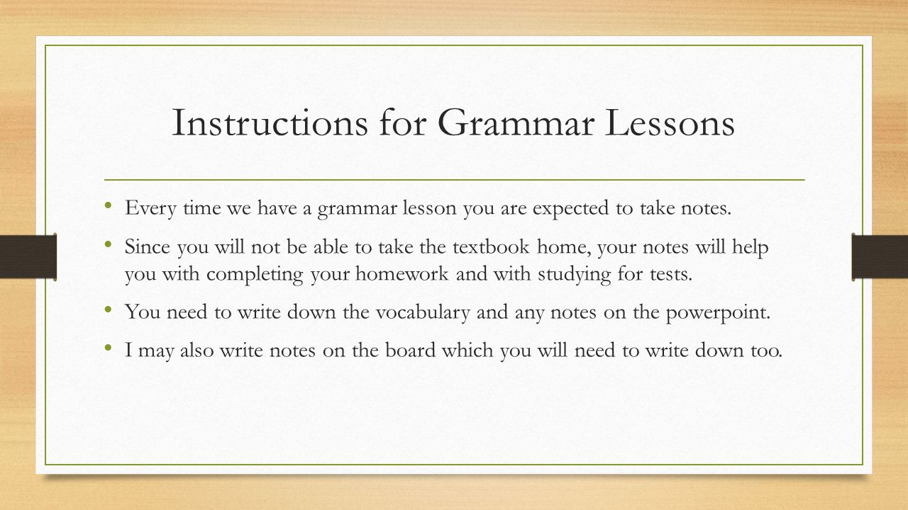 Instructions for Grammar Lessons