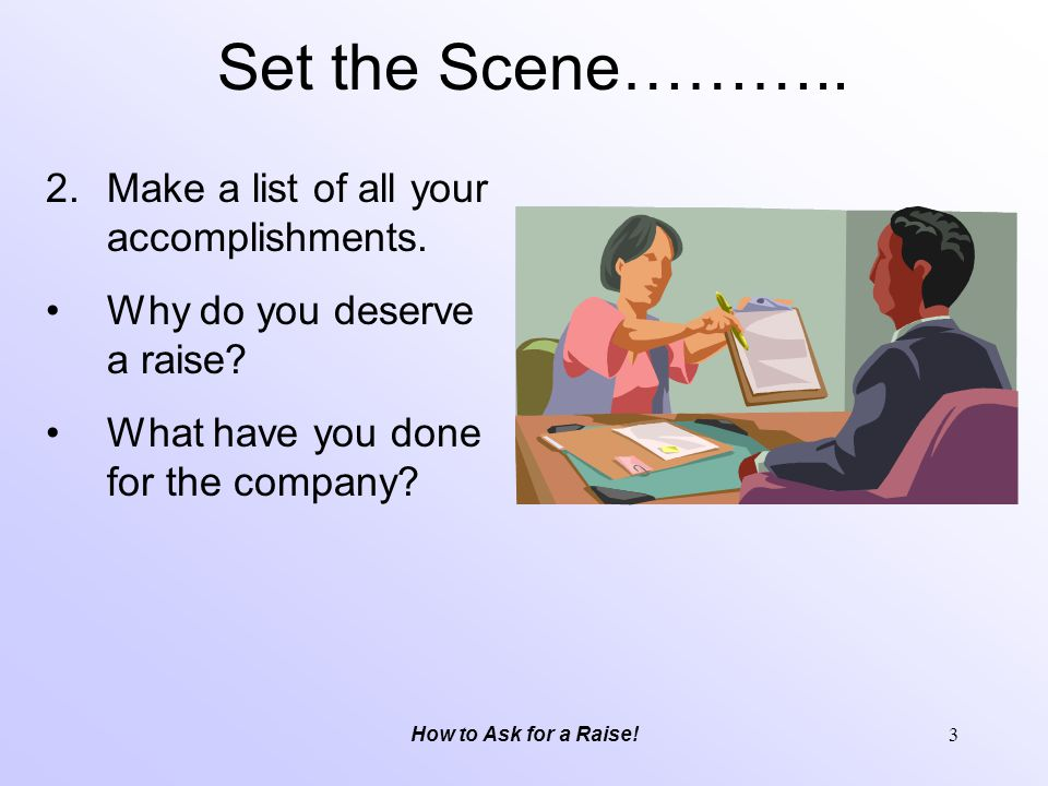 Set the Scene……….. Make a list of all your accomplishments.