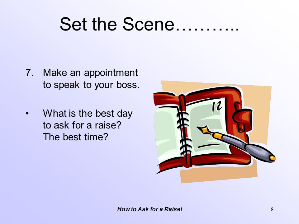 Set the Scene……….. Make an appointment to speak to your boss.