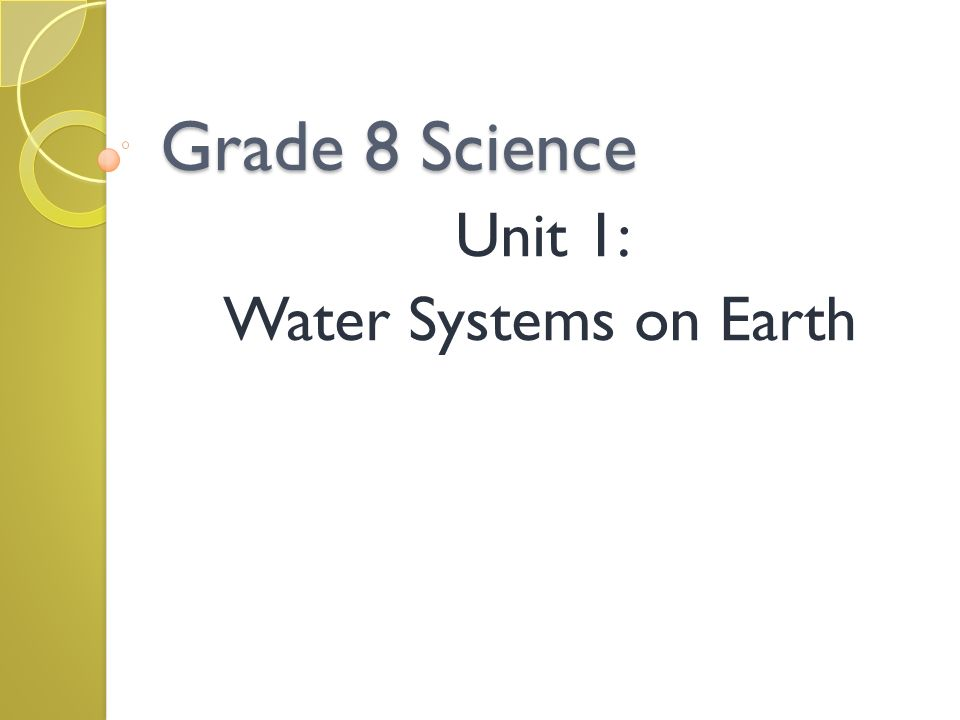 Unit 1: Water Systems on Earth