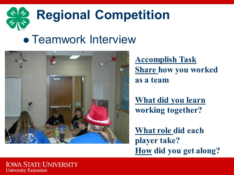 Regional Competition Teamwork Interview Accomplish Task