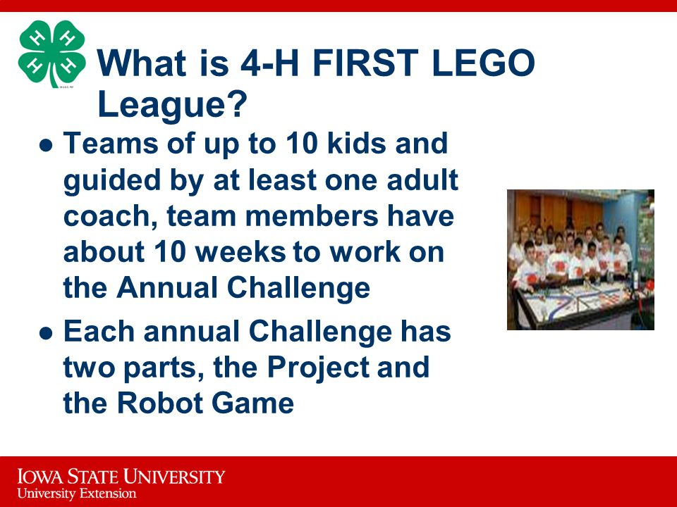 What is 4-H FIRST LEGO League