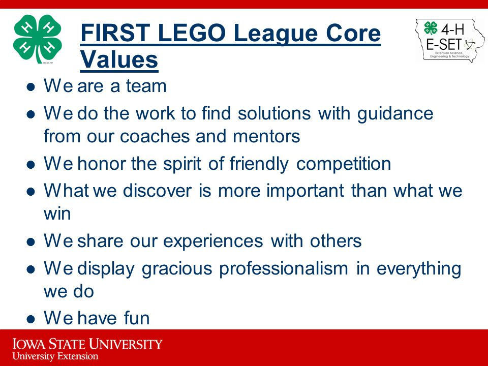 FIRST LEGO League Core Values