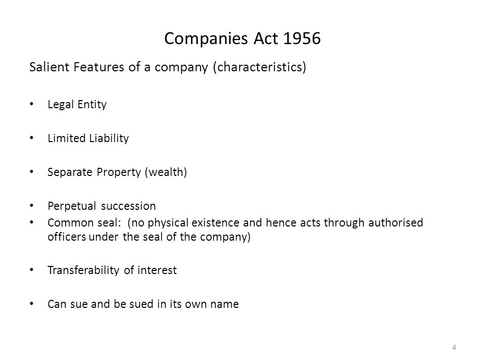 characteristics of company law